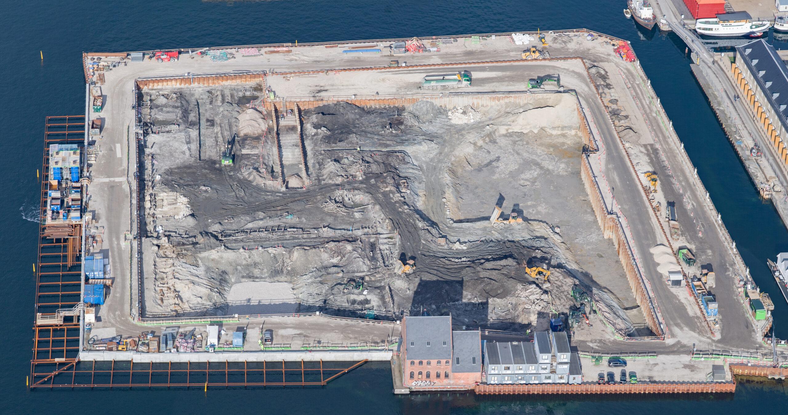 Luftfoto af byggepladsen på PAPIRØEN