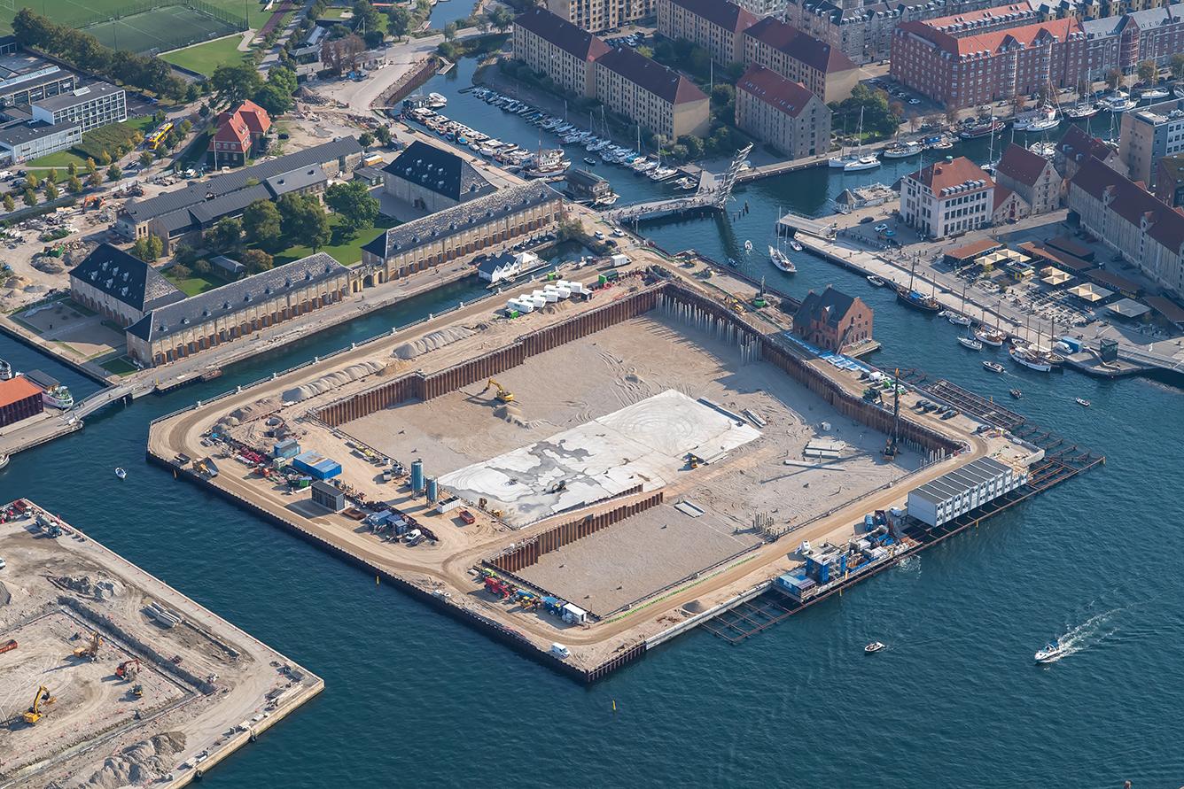 Papirøen - Christiansholm. Luftfoto september 2020.