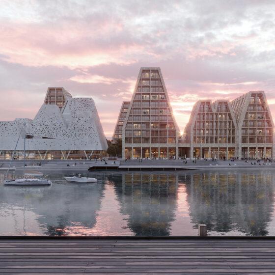 Papirøen - Christiansholm Ø. Visualisering af COBE. Papirøen set fra skuespillerhuset.
