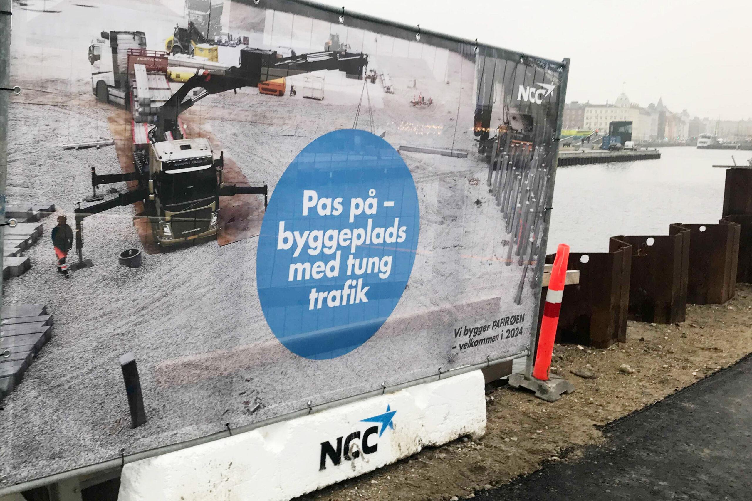 Banner PAPIRØENS byggeplads