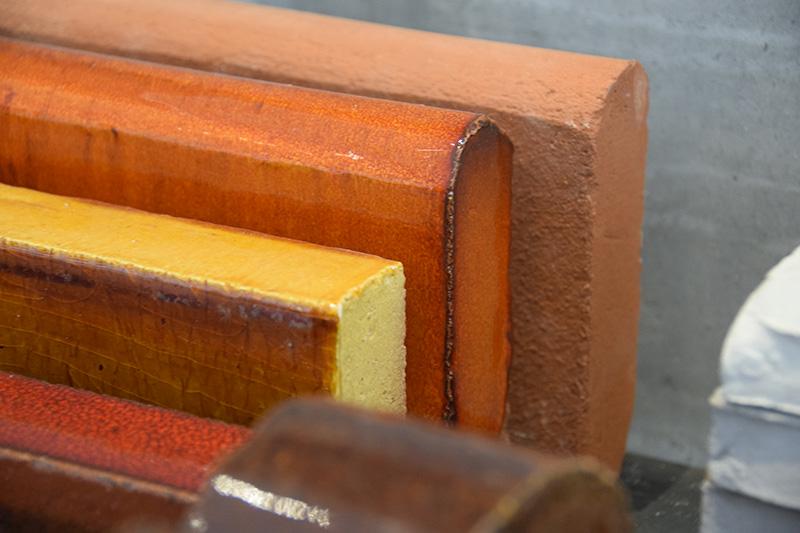 Materialeprøver - Petersen Tegl showroom i København.
